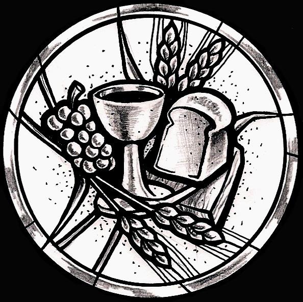 Eucharistic Symbols Bread And Wine Stained glass window design